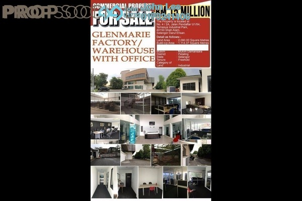 For Sale Factory at Temasya Industrial Park, Temasya Glenmarie Freehold Semi Furnished 0R/0B 10.8m