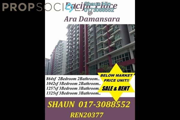 For Sale Condominium at Pacific Place, Ara Damansara Freehold Semi Furnished 3R/2B 600k