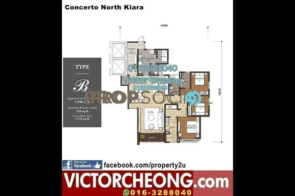 For Sale Condominium at Concerto Kiara, Dutamas Freehold Semi Furnished 3R/4B 1.4m