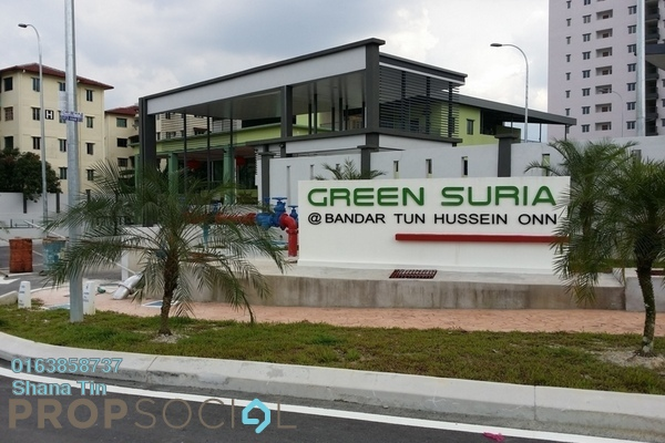 For Rent Apartment at Green Suria Apartment, Bandar Tun Hussein Onn Freehold Semi Furnished 3R/2B 1.4k
