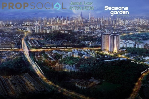 For Sale Condominium at Seasons Garden Residences, Wangsa Maju Freehold Semi Furnished 4R/2B 579k