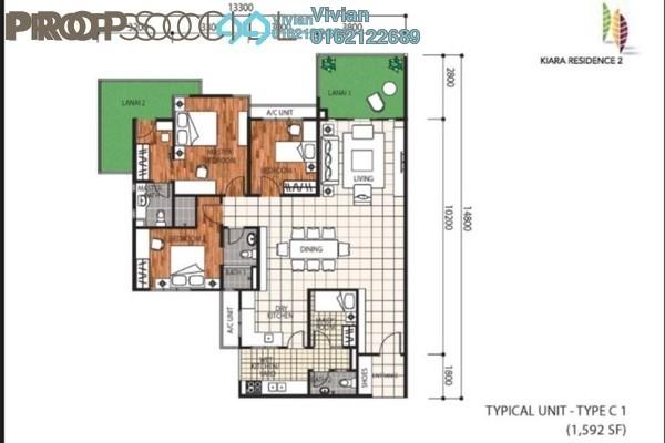For Rent Condominium at Kiara Residence 2, Bukit Jalil Freehold Semi Furnished 3R/3B 2.2k