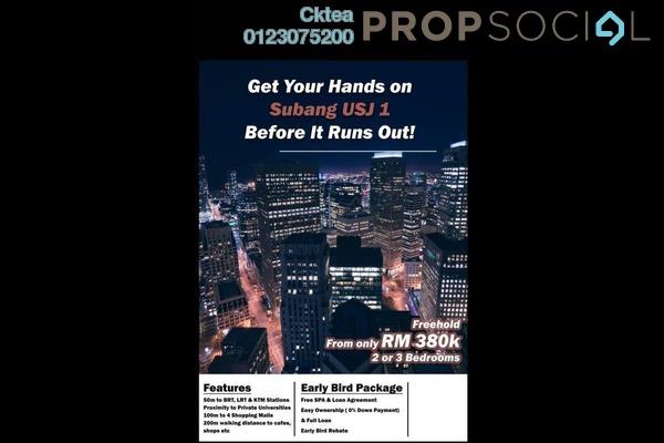For Sale Serviced Residence at Kenwingston Sky Loft, UEP Subang Jaya Freehold Unfurnished 2R/2B 390k