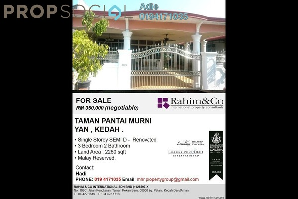 For Sale Semi-Detached at Pantai Murni, Yan Freehold Unfurnished 3R/2B 350k