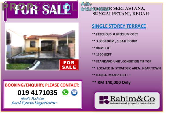 For Sale Terrace at Bandar Seri Astana, Sungai Petani Freehold Unfurnished 3R/1B 140k