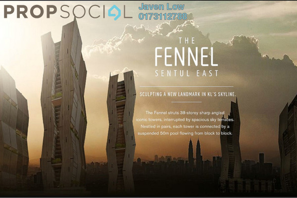 For Rent Condominium at The Fennel, Sentul Freehold Fully Furnished 3R/3B 2.8k