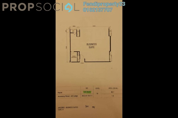 For Rent Office at Arcoris, Mont Kiara Freehold Semi Furnished 0R/1B 3.4k