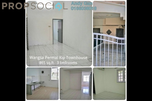 For Rent Townhouse at Taman Wangsa Permai, Kepong Freehold Semi Furnished 3R/3B 1.3k