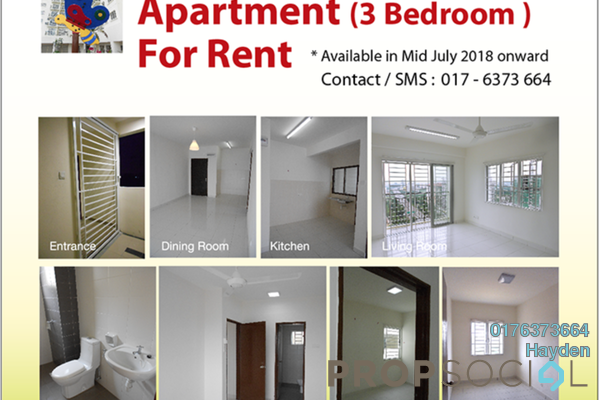 For Rent Apartment at Alam Idaman, Shah Alam Freehold Unfurnished 3R/2B 1.2k