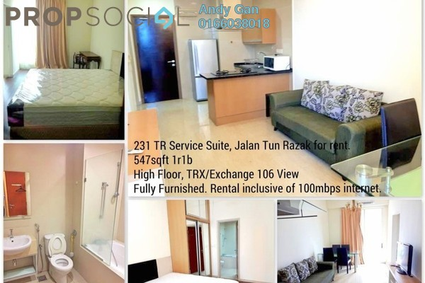 For Rent Serviced Residence at 231 TR, KLCC Freehold Fully Furnished 1R/1B 2.15k