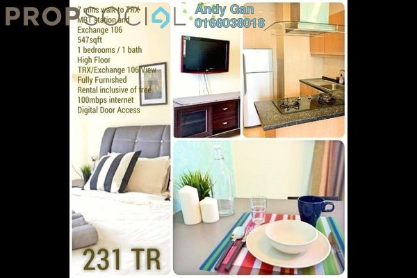 For Rent Serviced Residence at 231 TR, KLCC Freehold Fully Furnished 1R/1B 2.35k