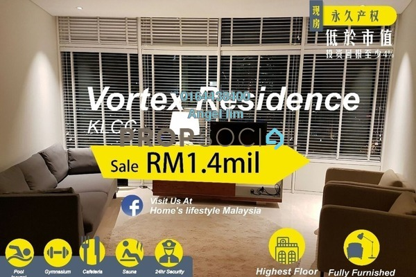 For Sale Condominium at Vortex Suites & Residences, KLCC Freehold Fully Furnished 2R/2B 1.4m