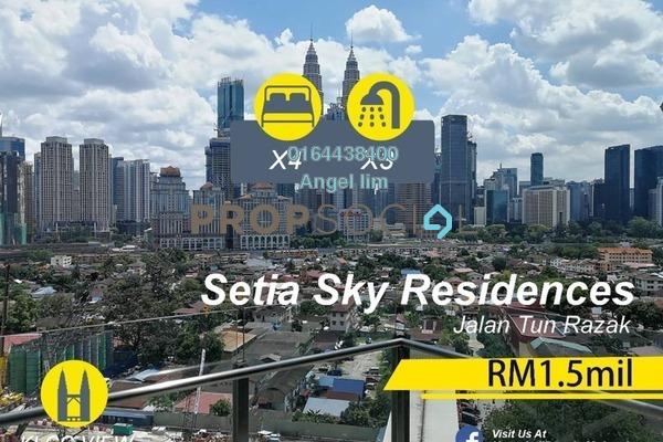 For Sale Condominium at Setia Sky Residences, KLCC Freehold Fully Furnished 4R/3B 1.5m