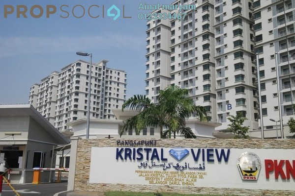 For Rent Condominium at Kristal View, Shah Alam Freehold Semi Furnished 3R/2B 2.1k