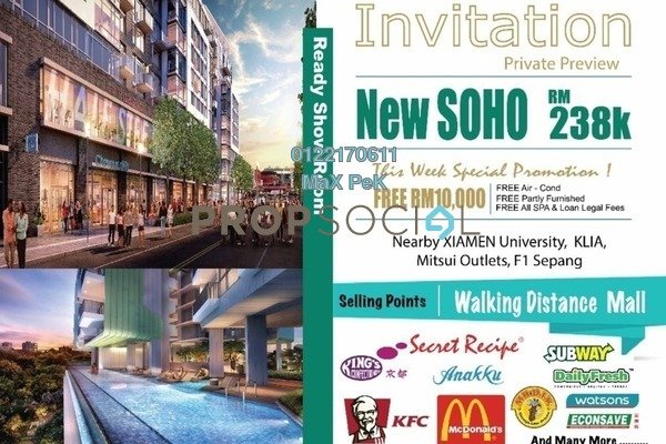 For Sale SoHo/Studio at Core SoHo Suites, Sepang Freehold Semi Furnished 1R/1B 243k