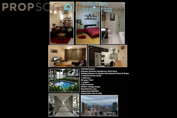 For Rent Condominium at Gateway Kiaramas, Mont Kiara Freehold Fully Furnished 1R/1B 2.9k