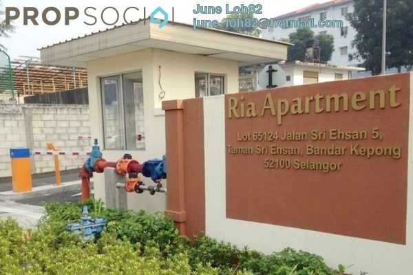 For Sale Apartment at Ria Apartment, Kepong Freehold Semi Furnished 3R/2B 355k