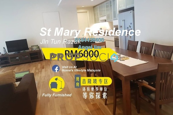 For Rent Condominium at St Mary Residences, KLCC Freehold Fully Furnished 3R/2B 6k
