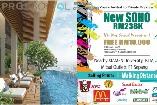 For Sale Serviced Residence at Core SoHo Suites, Sepang Freehold Semi Furnished 1R/1B 238k