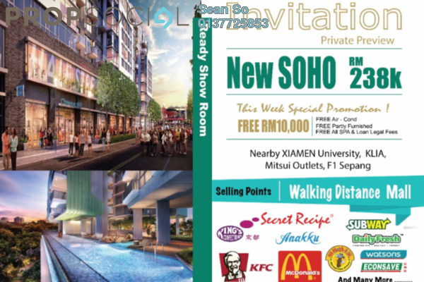For Sale Serviced Residence at Core SoHo Suites, Sepang Freehold Semi Furnished 1R/1B 239k