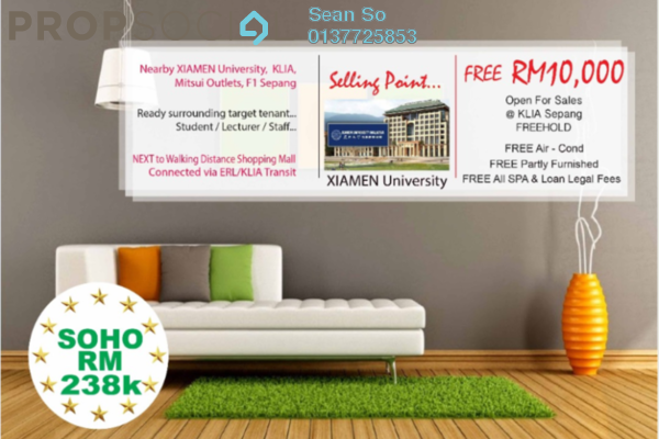For Sale Serviced Residence at Core SoHo Suites, Sepang Freehold Semi Furnished 1R/1B 240k