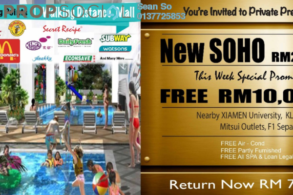 For Sale Serviced Residence at Core SoHo Suites, Sepang Freehold Semi Furnished 1R/1B 241k