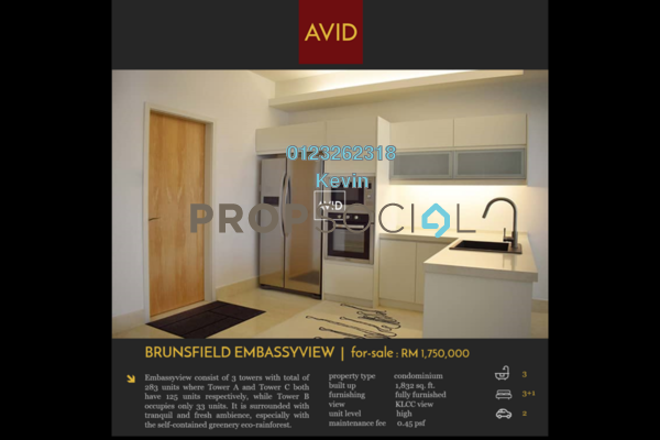 For Sale Condominium at Embassyview, Ampang Hilir Freehold Semi Furnished 3R/3B 1.75m