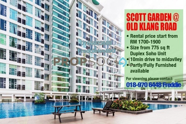 For Rent Duplex at The Scott Garden, Old Klang Road Freehold Fully Furnished 1R/2B 1.5k