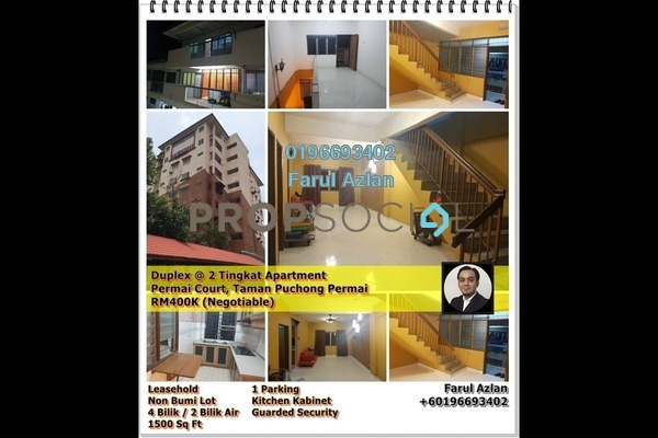 For Sale Duplex at Permai Court, Puchong Leasehold Semi Furnished 4R/2B 400k