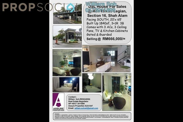 For Sale Terrace at Ken Rimba, Shah Alam Freehold Semi Furnished 4R/3B 666k