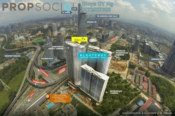 For Sale Serviced Residence at KL Gateway, Bangsar South Freehold Semi Furnished 3R/3B 1.3m
