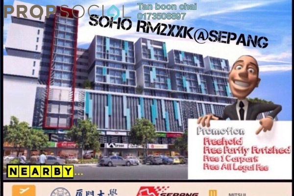 For Sale SoHo/Studio at Core SoHo Suites, Sepang Freehold Semi Furnished 1R/1B 258k