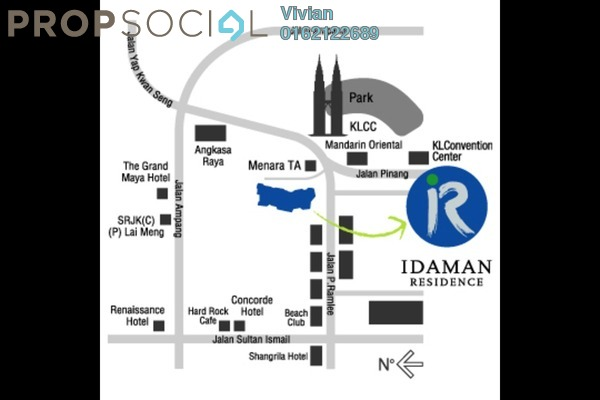 For Sale Condominium at Idaman Residence, KLCC Freehold Fully Furnished 3R/3B 1.47m