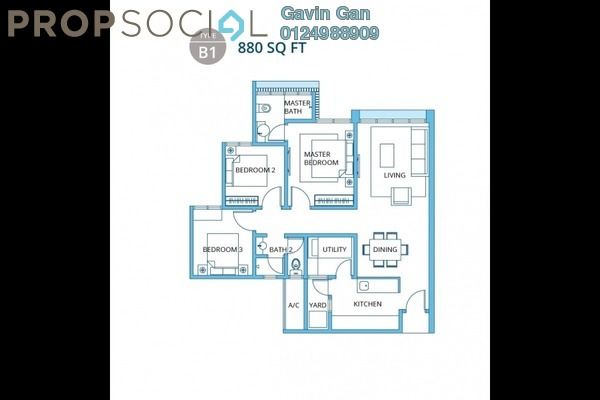 For Rent Apartment at H2O Residences, Ara Damansara Freehold Fully Furnished 4R/2B 2k