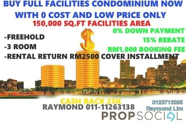 For Sale Condominium at Opus @ Lake Vicinity, Cyberjaya Freehold Semi Furnished 2R/2B 199k