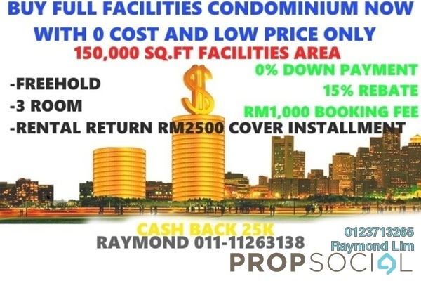 For Sale Condominium at Seksyen 15, Bangi Freehold Semi Furnished 2R/2B 199k