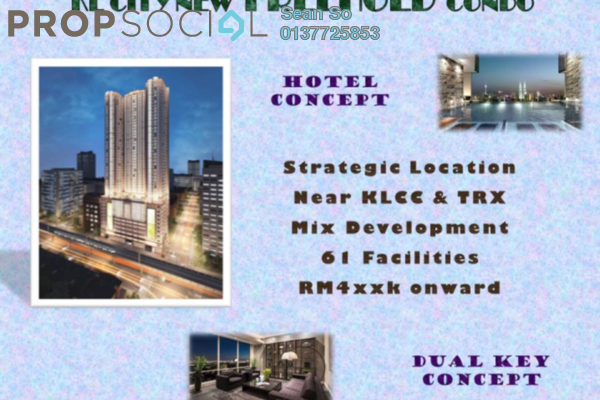 For Sale Serviced Residence at Trion @ KL, Kuala Lumpur Freehold Semi Furnished 2R/2B 547k