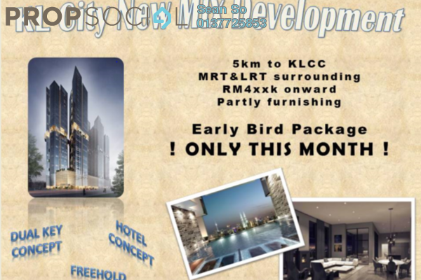 For Sale Serviced Residence at Trion @ KL, Kuala Lumpur Freehold Semi Furnished 2R/2B 548k