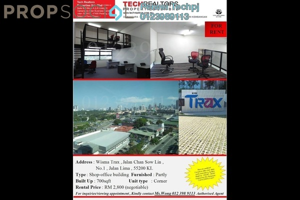 For Rent Office at The TRAX @ Chan Sow Lin, Sungai Besi Freehold Fully Furnished 0R/3B 2.8k