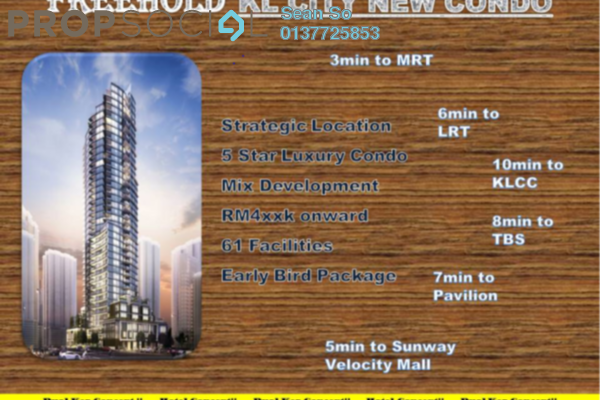 For Sale Serviced Residence at Trion @ KL, Kuala Lumpur Freehold Semi Furnished 3R/3B 734k