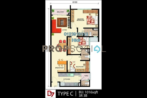For Sale Condominium at D'Seven Lagoon Perdana, Bandar Sunway Freehold Unfurnished 3R/3B 533k