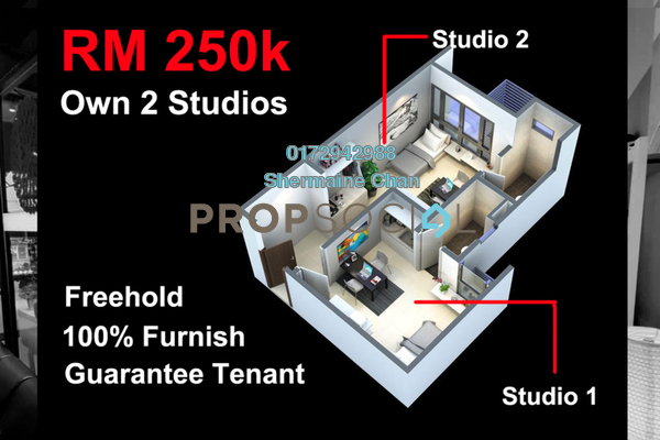 For Sale SoHo/Studio at Midlands City, Semenyih Freehold Fully Furnished 2R/2B 250k