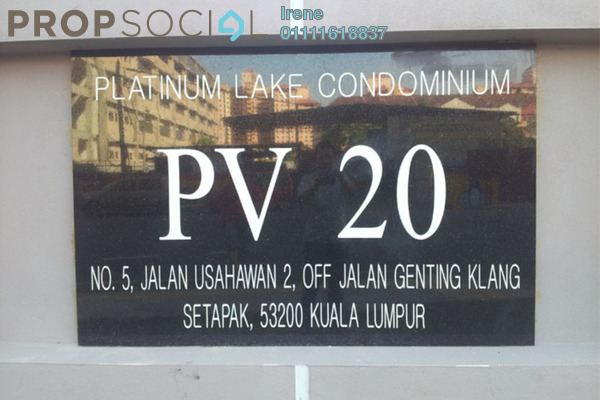 For Sale Condominium at Platinum Lake PV20, Setapak Freehold Semi Furnished 5R/2B 500k