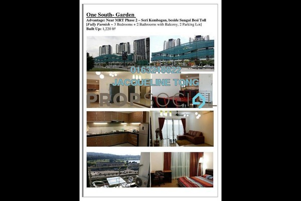 For Sale Serviced Residence at Gardenz @ One South, Seri Kembangan Freehold Fully Furnished 3R/2B 560k