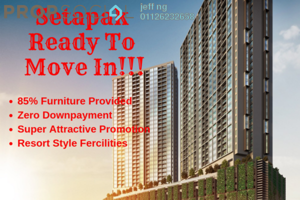 For Sale Condominium at Bennington Residences @ SkyArena, Setapak Freehold Semi Furnished 3R/2B 680k