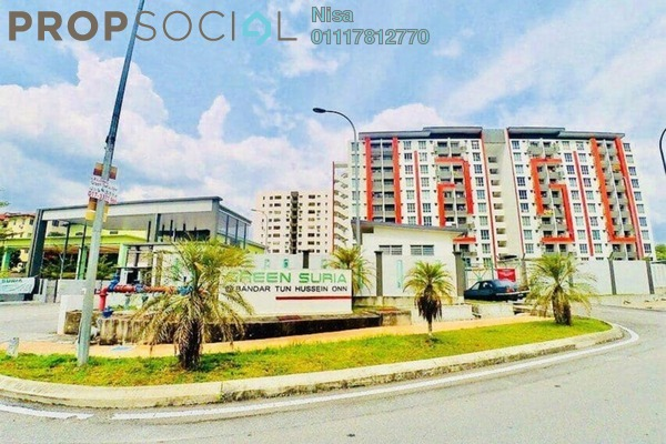 For Sale Apartment at Green Suria Apartment, Bandar Tun Hussein Onn Freehold Semi Furnished 3R/2B 360k