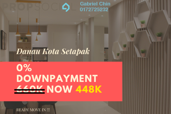 For Sale Serviced Residence at Danau Kota Suite Apartments, Setapak Freehold Unfurnished 3R/2B 447k