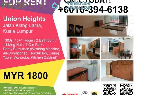 For Rent Condominium at Union Heights, Old Klang Road Freehold Semi Furnished 2R/2B 1.4k