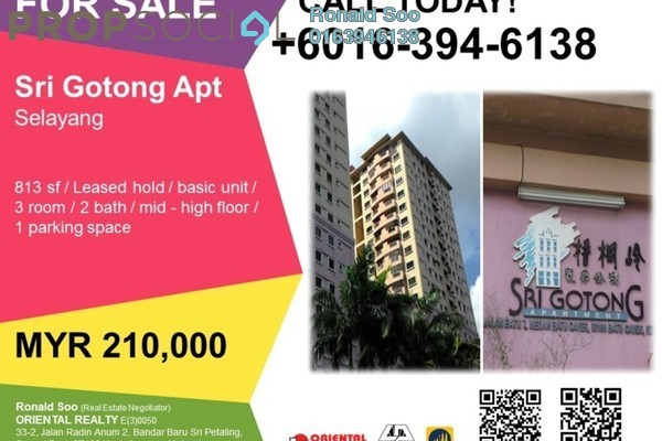 For Sale Apartment at Sri Gotong Apartment, Selayang Freehold Unfurnished 3R/2B 210k
