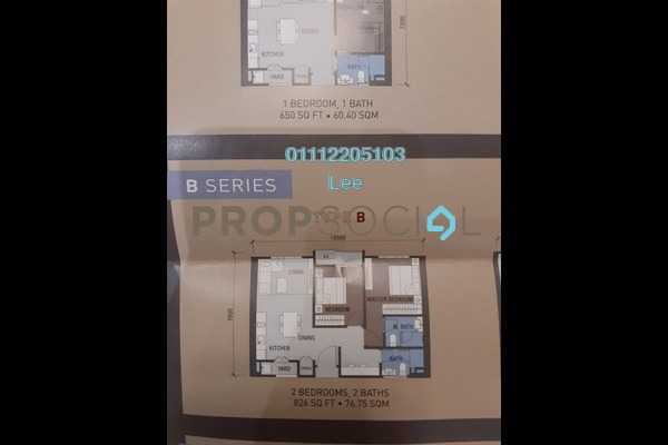 For Sale Condominium at Sentral Suites, KL Sentral Freehold Semi Furnished 2R/2B 1.05m